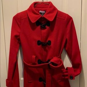 Red Wool Toggle Coat
